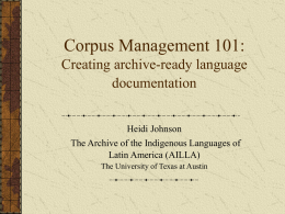 Language Documentation & Archiving
