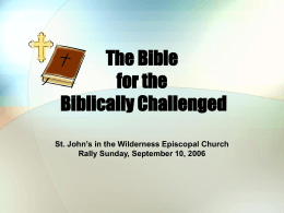 Bible for - St. John in the Wilderness Adult Education and