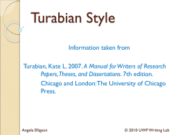 Turabian Style - University of West Florida