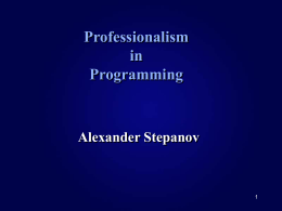 Professionalism in Programming