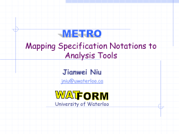 Mapping Specification Notations to Analysis Tools