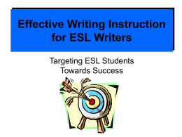Effective Writing Instruction for English Language Learners