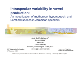 PowerPoint Presentation - Intraspeaker variability in