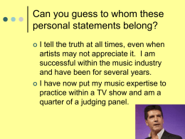 Can you guess who these personal statements belong …