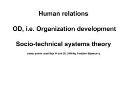Human Relations, OD, Socio