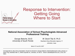 Response to Intervention Advanced Professional Training