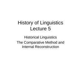 History of Linguistics Lecture 5