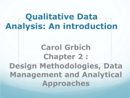 Qualitative Data Analysis: An introduction