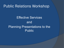 Public Relations Workshop - Florida Florida Service