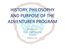 HISTORY OF THE ADVENTURER PROGRAM
