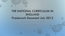 The national curriculum in England Framework …