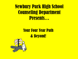 Newbury Park High School Counseling Department …