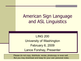 American Sign Language - University of Washington