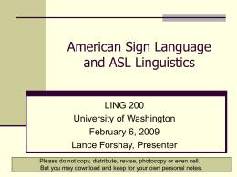 American Sign Language - University of Washington
