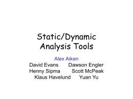 Static/Dynamic Analysis - Computer Science Laboratory