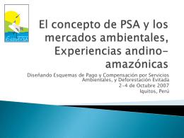 El concepto de PSA y los mercados ambientales