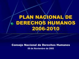 PLAN NACIONAL DE DERECHOS HUMANOS RESUMEN …