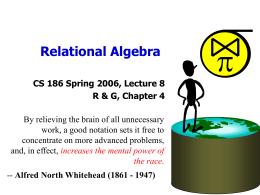 Relational Algebra - Eastern Mediterranean University (EMU