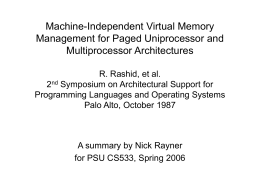 Machine-Independent Virtual Memory Management for …