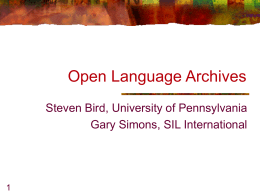 Open Language Archives