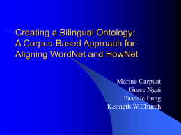 Creating a Bilingual Ontology: A Corpus