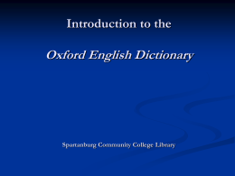 Introduction to the Oxford English Dictionary a