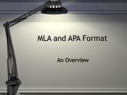 MLA and APA Format - East Lycoming School District