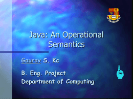 Java: An Operational Semantics