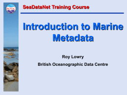 Introduction to Marine Metadata