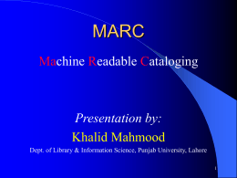 MARC - Pakistan Library Automation Group ::: PakLAG