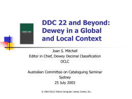 DDC: An Introduction to Edition 21
