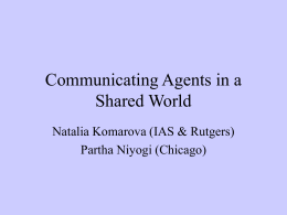Communicating agents in a shared world