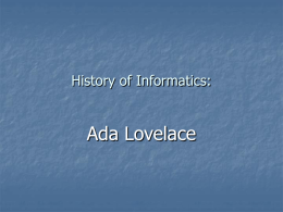Ada Lovelace - Institute for Computing and Information