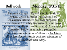 Bellwork Monday, 8/25/14