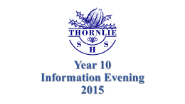 Year 10 Information Evening 2015