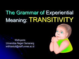 The Grammar of Ideational Meaning: TRANSITIVITY