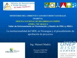 La institucionalidad del MDL en Nicaragua y el