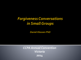 Facilitating Forgiveness Groups