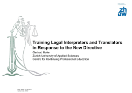 Interpreting services in legal and medical settings in