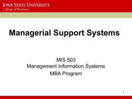 MIS 503 - Managerial Support Systems