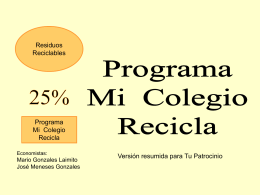Proyecto MI COLEGI RECICLA