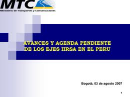 AVANCES Y AGENDA PENDIENTE DE LOS EJES IIRSA EN EL …