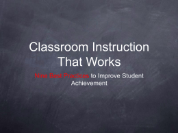 PowerPoint Presentation - Classroom Instruction That …