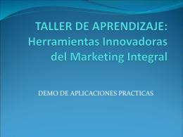 TALLER DE APRENDIZAJE: Herramientas Innovadoras del