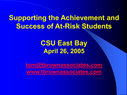 Academic Advising: Supporting the Achievement and …