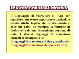 I LINGUAGGI DI MARCATURA