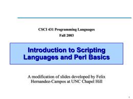 Lecture 6: Introduction to Scripting Languages and Perl …