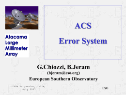 ACS Error System - European Southern Observatory