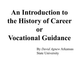 History of Vocational Guidance