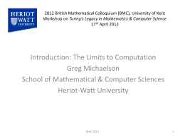 2012 British Mathematical Colloquium (BMC), University of